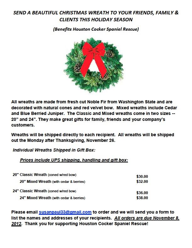 Christmas Fundraiser Flyer.Christmas Wreath Fundraiser Flyer Houston Cocker Spaniel